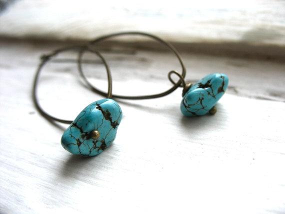 Turquoise Earrings, Turquoise Antiqued Brass Chandelier Hoop Dangle Drop Earrings, Handmade Metalwork Artisan Stone Earrings