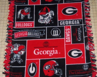 Georgia Bulldogs Fleece Baby Blanket Hand Tied Pet Lap Red Black Patchwork Shower Gift