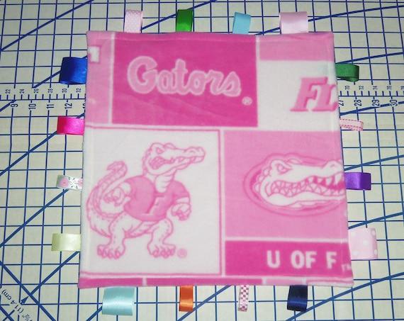 Florida Gators Ribbon Fleece Blanket Pink Patchwork Baby Toy Tags Girl