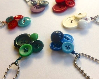 CUSTOM Small Vintage Button Pendant MADE To ORDER in your choice of colors