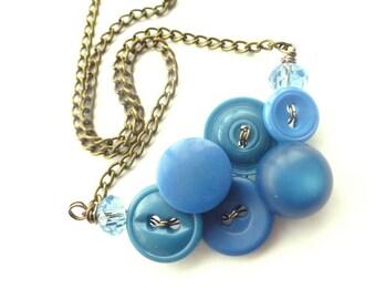 Small Vintage Button Necklace in Monaco Blue