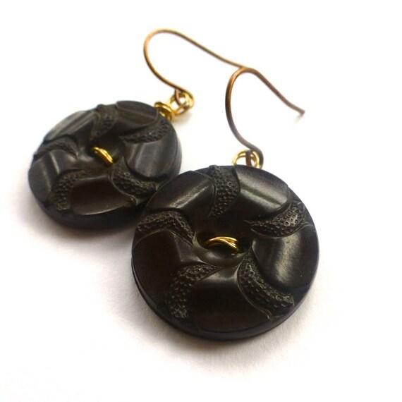 Dark Brown Flower Button Earrings