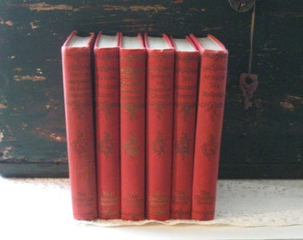Antique Books - 6 Books - 1895 - Instant Collection - Red Books