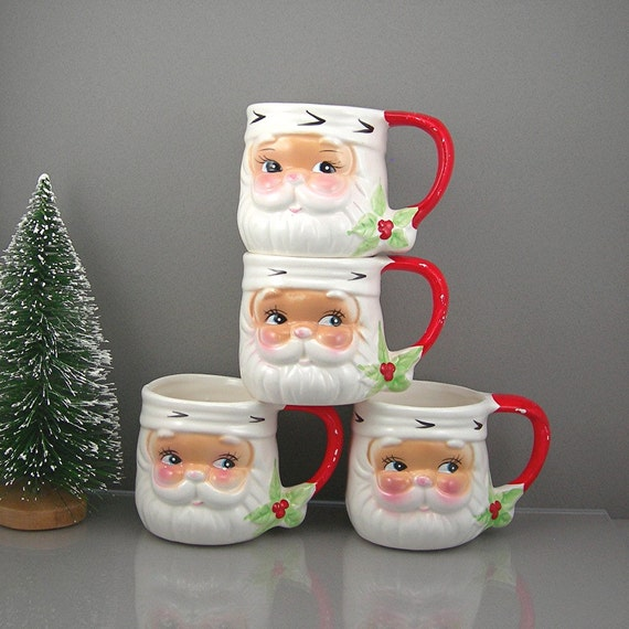 Vintage Christmas Mugs Santa Set of 4 Colorful Ceramic Holiday Cups Coffee Cocoa Tea Christmas Eve REDUCED