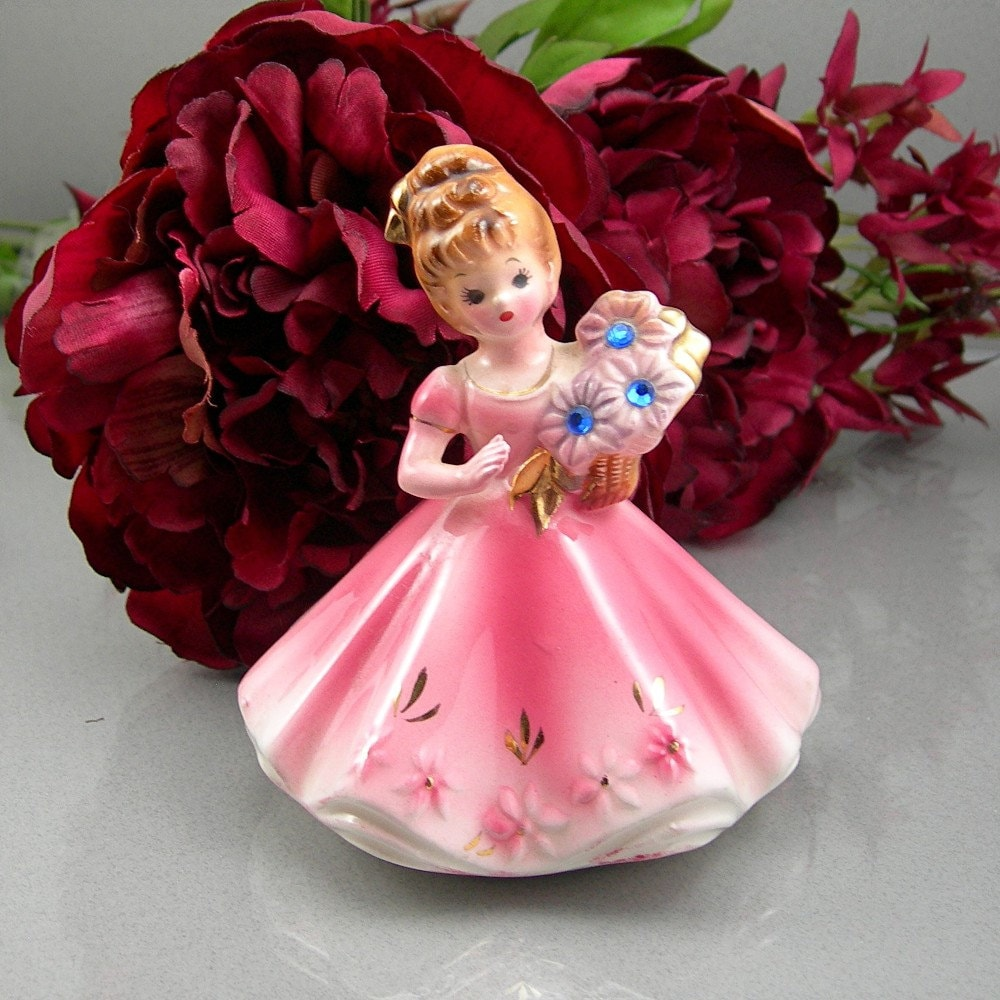 Josef Originals Figurine Girl September Birthday Girl Pink