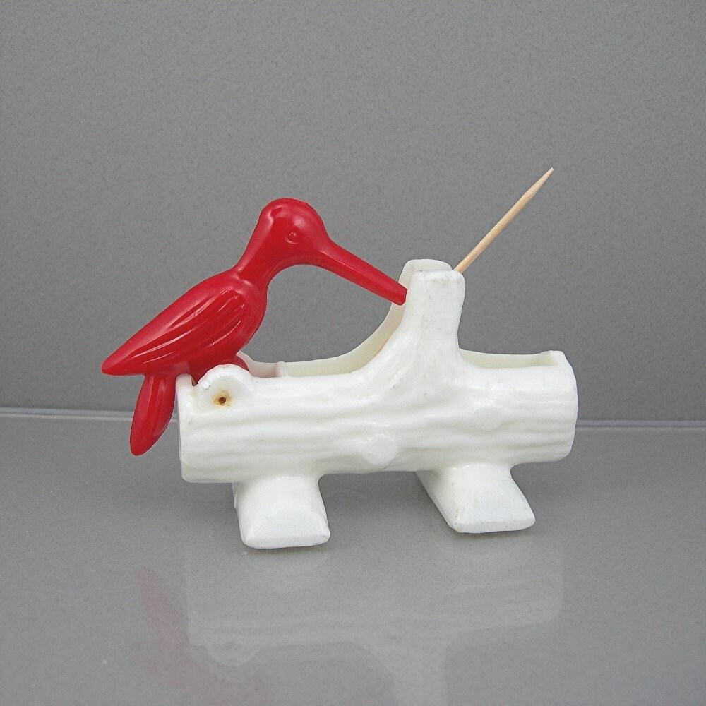 Bird toothpick holder hard plastic circa 1970 red woodpecker - Bird toothpick holder ...