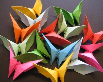 Set of 100 Origami 3D butterflies Multi solid color