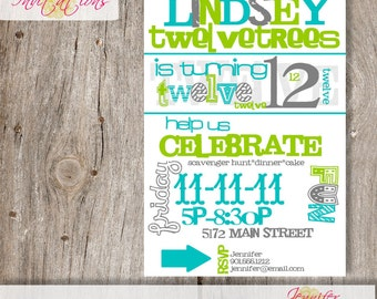 Subway Art Invitation ......DIY Printable......or add a printing package from our shop.
