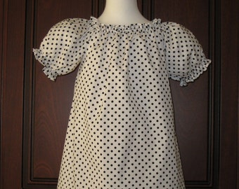 White and Black Polka Dots Peasant Top 12M  To 7 Girl Top, Girl Tunic, Little Girl Top, Girl Blouse