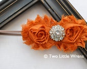 Fall or Autumn Zoe Luxe Flower Headband - Burnt Orange Flowers with Jewel Center - Baby Headband to Adult Headband - SPRING SALE - See Shop