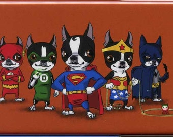 Boston Terrier dog art justice league Hero magnet