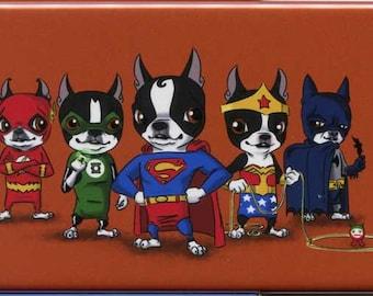 Boston Terrier dog art justice league Hero magnet