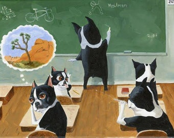 Boston Terrier School House Dog Art