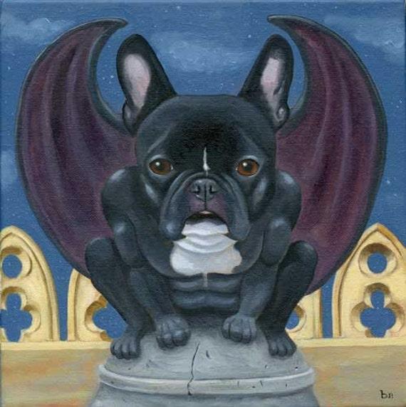 French Bulldog Frenchie Gargoyle Dog Art PRINT
