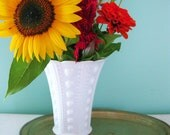 Vintage K.R. Haley Zipper and Jewel Milk Glass Vase White Hobnail Milk Glass Vase