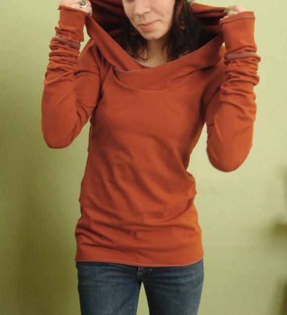 extra long sleeved hooded top Rust Orange