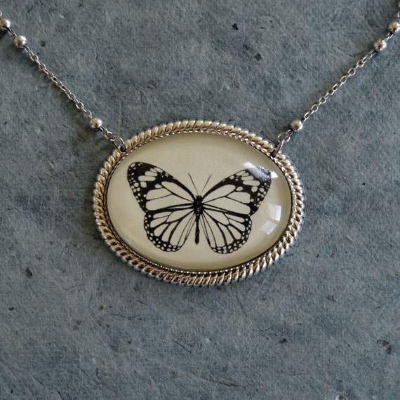 Sale 20% Off // BUTTERFLY Necklace, pendant on chain - Silhouette Jewelry // Coupon Code SALE20