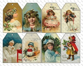 Victorian Vintage Christmas children tags Instant Download