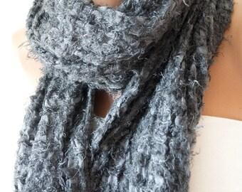 Dark Grey Shawl - Wrap Scarf - Very Soft Scarf