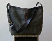 """SALE - ships today in Grey waxed canvas and Black leather - 1910 MESSENGER TOTE - waxed canvas messenger bag - 13"""" laptop pocket"""