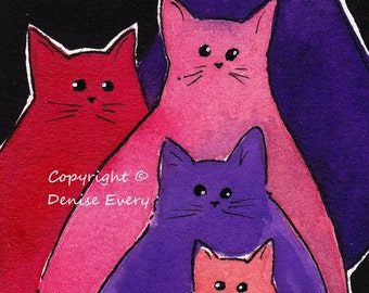 Abstract Kitties Pink Purple Hues Cat Art ACEO Original Painting ATC