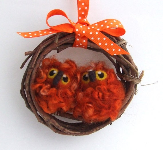 Sale Needlefelted Ginger Snap Orange Owl Baby Pair Mini Wreath with Felt Birds