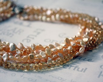 Multi Strand Pearl and Citrine Necklace, Golden Pearl Wedding Necklace, Pearl and Genuine Citrine Handmade Bridal Jewelry
