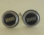 Cufflinks, Typewriter Key Cufflinks - Black Number 1000, Ready to Ship