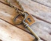 Skeleton Key Charm Necklace. Brass. Steampunk. Lock and Key