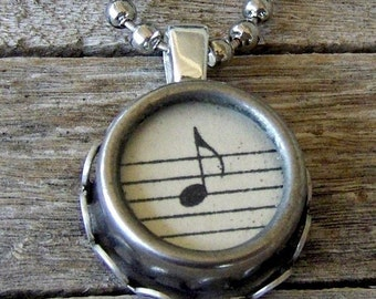 Music Pendant Necklace, Typewriter Key Necklace Setting,  Vintage Musical Note, Classical Music