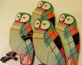 Argyle Owl Woodcut Brooch OVERSTOCK