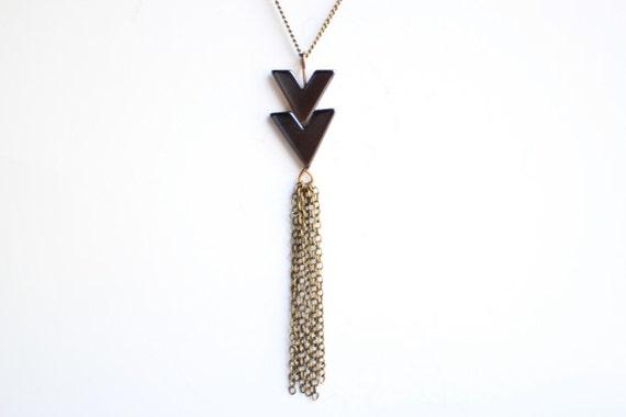 Black Hematite Chevron Necklace with Tassel - Vintage Oxidized Brass Chain