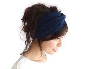 Turban Headband/ Turband // Hair Wrap // Twist Headband // Fabric Hairband // Fashion Turban // Midnight Blue