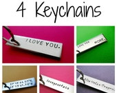 4 Personalized Keychains - Custom Keychain - Hand Stamped Custom Accessories