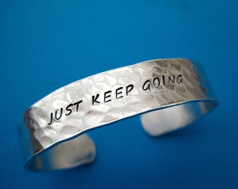 Personalized Bracelet - Just keep going - Hammered textured - Thick 1/2 inch