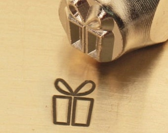Design Stamp - GIFT BOX - 6mm stamped image by ImpressArt -  includes How to Stamp Metal tutorial