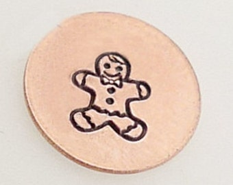 Design Stamp - GINGERBREAD BOY - 5mm stamped image -  includes How to Stamp Metal tutorial