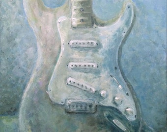 16x20 Original Painting Guitar Art Framed Fender Under Water by Rebecca Salcedo Ffaw free US Shipping