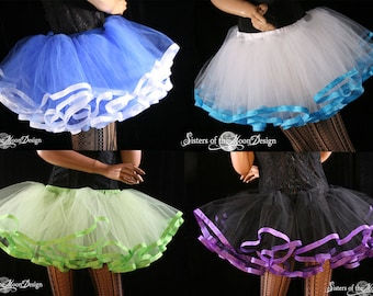 tutu petticoat skirt adult Custom trimmed Halloween costume dance bridal run race dance - You Choose Size and color- Sisters of the Moon