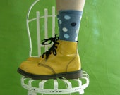 On hold CANARY Yellow Patent Leather  Doc Martens Combat Boots Punk Vintage 80s Mens Size 7  Womens Size 9