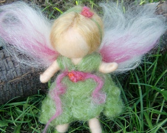 Garden Bendy Fairy -  Needle felted soft sculpture - Waldorf Inspired by Rebecca Varon