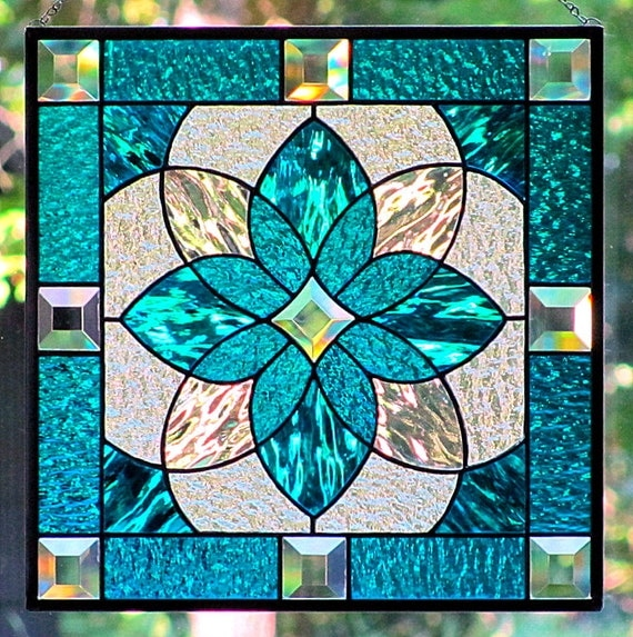 Aqua Blue Stained Glass Starburst Design Beveled Panel