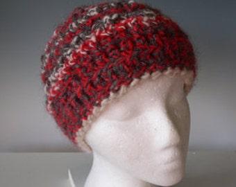 Very Merry Handmade  HAT BEANIE 100% ALPACA men women kids Cord w. Bell--Warm Winter Handspun, Crocheted-- White Red Gray  Sale  was 95.00