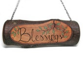 Blessings Rustic Organic Natural Bradford Pear Branch Small Wooden Sign by Tanja Sova