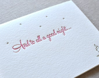 Letterpress holiday And To All A Good Night card and envelope.