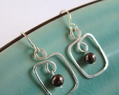 Circle and Square Dangle Sterling Silver Earrings with Black Pearl, hammered