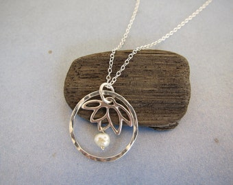 Elegant Asian Silver Flower, Love Circle Lotus Flower Charm Pendant Sterling Silver Necklace, Zen Necklace, Yoga Skinny Jewelry, made in USA