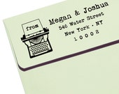 CUSTOM ADDRESS STAMP with proof from usa, Eco Friendly Self-Inking stamp, rsvp address stamp, custom stamp, custom address stamp Typewriter1