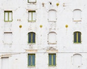 Urban Photography Print, City, Green, White, Fine Art, Windows, Abstract, Building, Photograph  - Stages