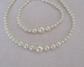 Wedding Jewelry Flower Girl Pearl necklace and bracelet set - Bridal Accessories-Wedding Jewelry